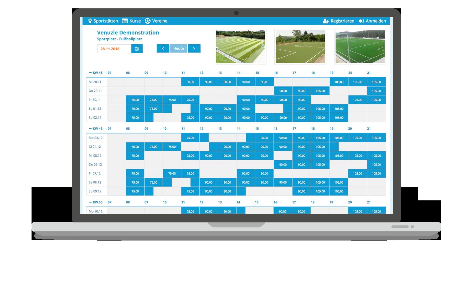 Venuzle Mac Mockup Sportportal-Kalender mit freien Terminen und Bildern der Anlage