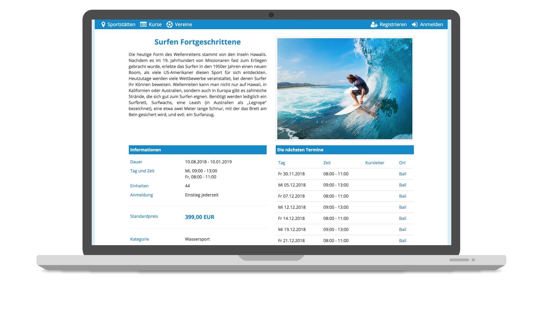 Venuzle Mac Mockup Kursmanager mit dem Surfkurs für Fortgeschrittene