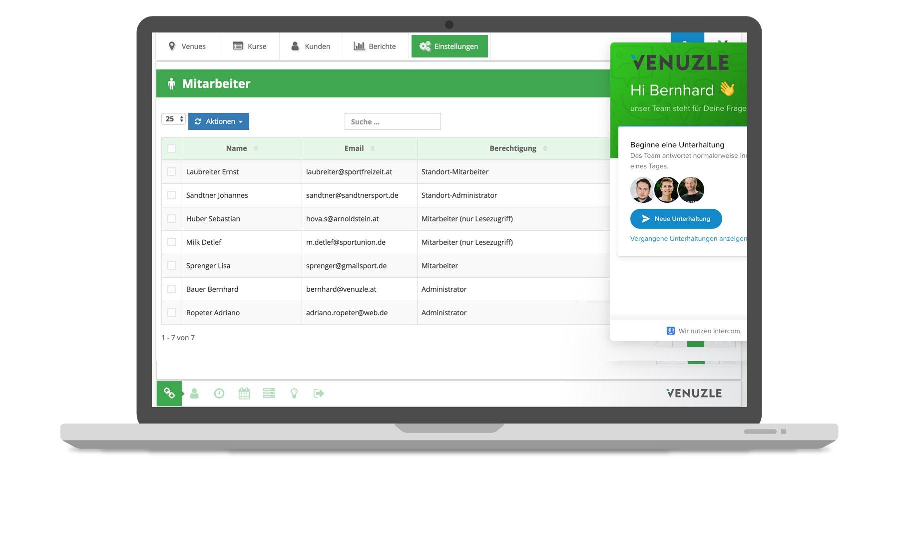 Venuzle Mac Mockup der Mitarbeiteraccounts und dem Support Tool Intercom